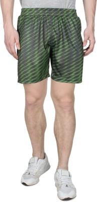 Creez Printed Men's Black, Dark Green Sports Shorts