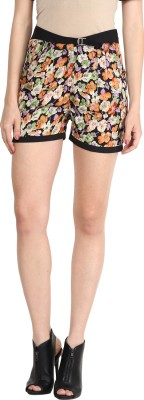 Athena Printed Women's Black Basic Shorts at flipkart