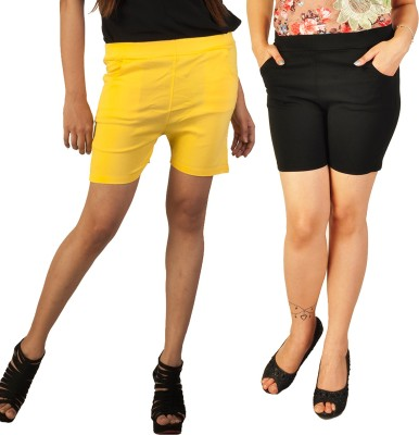 Berries Solid Women's Yellow, Black Hotpants