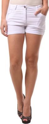 FashionExpo Solid Women,s White Hotpants