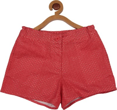 My Lil,Berry Solid Girl's Orange Basic Shorts