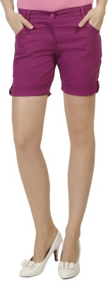 Ashdan Solid Women's Purple Basic Shorts at flipkart