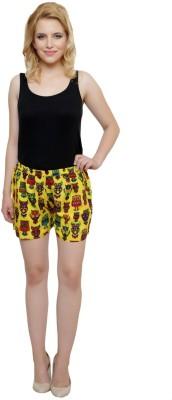 Iwonder Printed Women's Yellow Basic Shorts