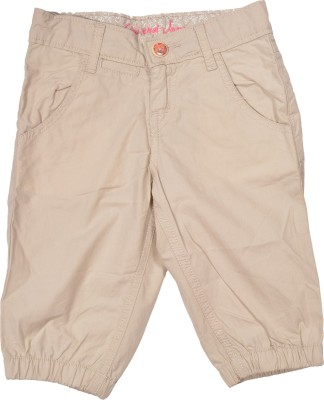 Gini & Jony Solid Baby Girl's Brown Basic Shorts