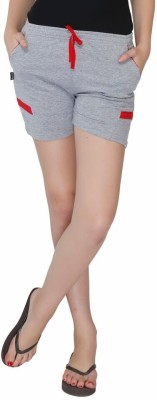 Red Ring Solid Women's Grey Night Shorts