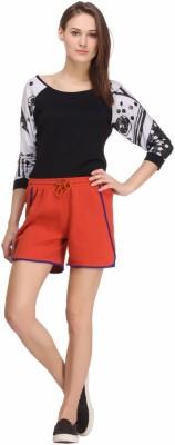 Nineteen Solid Women's Orange Basic Shorts