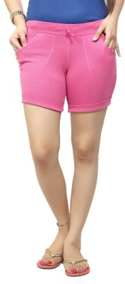 By The Way Solid Women's Pink Basic Shorts, Beach Shorts, Cycling Shorts, Night Shorts