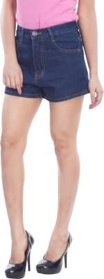 TrendBAE Solid Women's Denim Dark Blue Denim Shorts