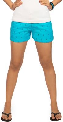 Idiot Theory Printed Women's Light Blue Basic Shorts