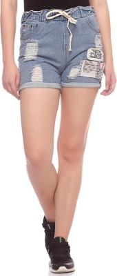 Fasnoya Self Design Women,s Denim Blue Denim Shorts