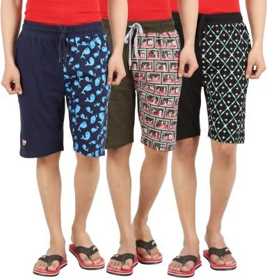 Sixer Knitting Printed Men,s Multicolor Basic Shorts