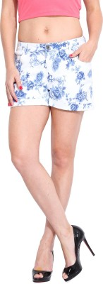 Ceylin Floral Print Women's White Denim Shorts