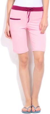 Happy Hours Solid Women's Pink Bermuda Shorts