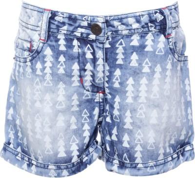 UFO Printed Girl's Dark Blue Denim Shorts