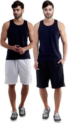 Dee Mannequin Self Design Men's White, Black Sports Shorts