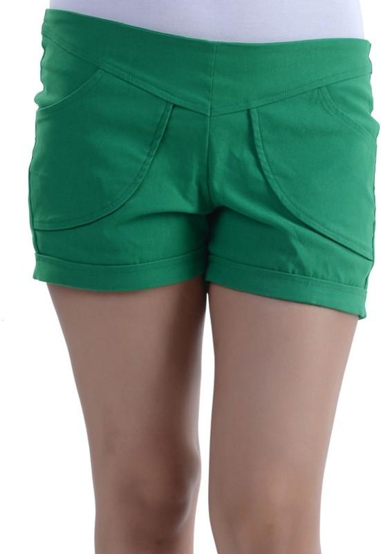 Vea Kupia Solid Women's Green Basic Shorts
