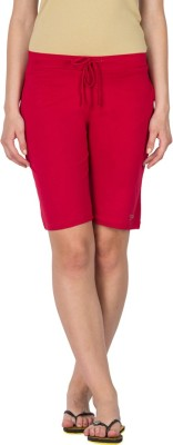 Lovable Solid Women's Red Basic Shorts