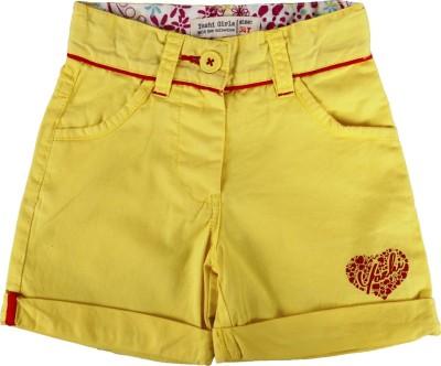 Yazhi Solid Girl's Yellow Basic Shorts