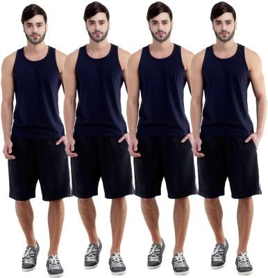 Dee Mannequin Self Design Men's Black, Black, Black, Black Sports Shorts