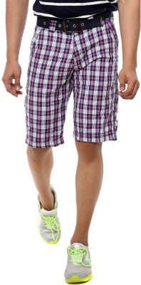 Sports 52 Wear Checkered Men's Pink Basic Shorts