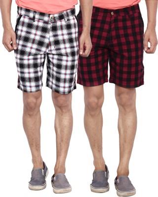 Calloway Solid Men's Black, White, Red Basic Shorts