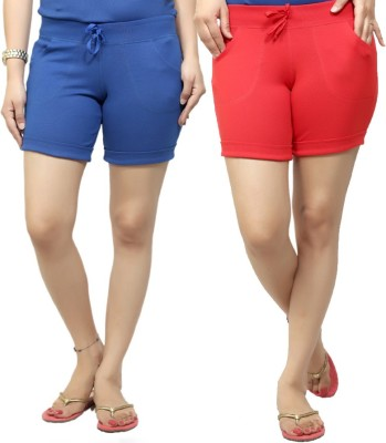 By The Way Solid Women's Blue, Red Basic Shorts, Beach Shorts, Cycling Shorts, Night Shorts