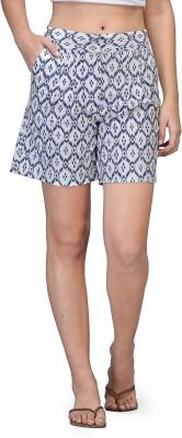 Kiosha Printed Women's White, Blue Basic Shorts