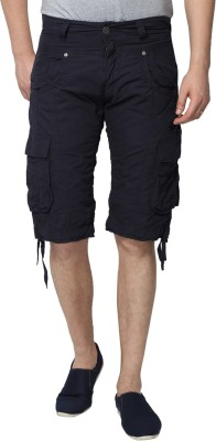883 Police Solid Men's Blue Cargo Shorts