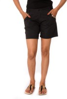 Oviya Women's Clothing - Oviya Solid Women's Black Basic Shorts