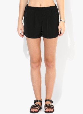 Only Solid Women's Black Basic Shorts at flipkart