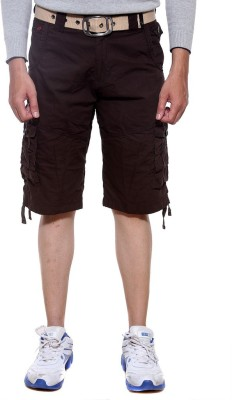 Sports 52 Wear Solid Men's Brown Cargo Shorts