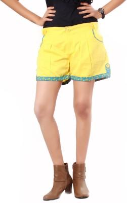Uber Urban Solid Women's Yellow Basic Shorts at flipkart