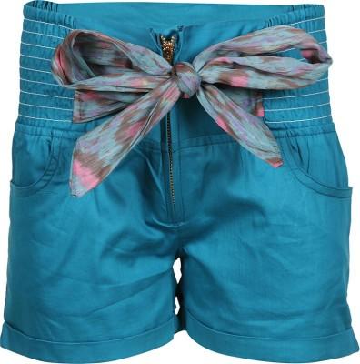Miss Alibi by Inmark Solid Girl's Light Green Basic Shorts