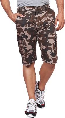 Black Casual Printed Men's Multicolor Cargo Shorts