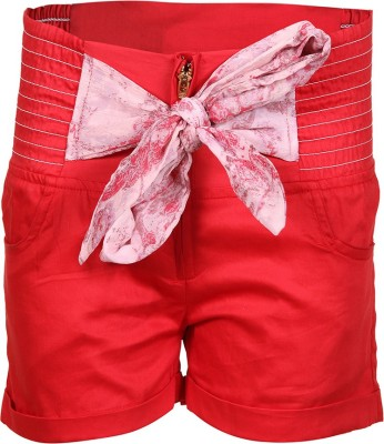 Miss Alibi by Inmark Solid Girl's Red Basic Shorts
