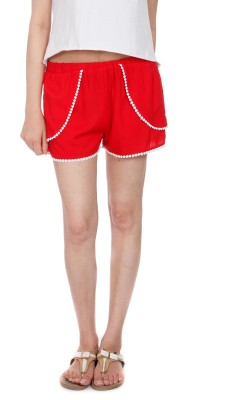 House of Tantrums Solid Women's Red Hotpants, Basic Shorts, Beach Shorts