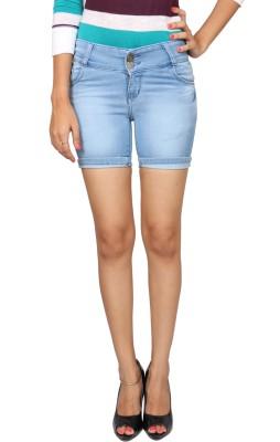 Fungus Self Design Women's Denim Blue Hotpants