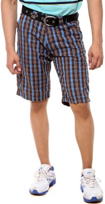 Sports 52 Wear Checkered Men's Brown Basic Shorts