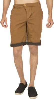 Truccer Basics Solid Men's Brown Cargo Shorts