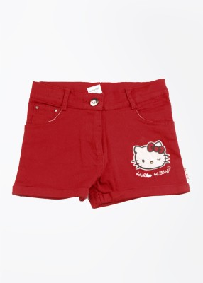 Hello Kitty Solid Girl's Red Basic Shorts