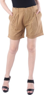 Trendy Divva Self Design Women's Brown Basic Shorts