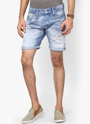 Jack & Jones Solid Men's Blue Denim Shorts