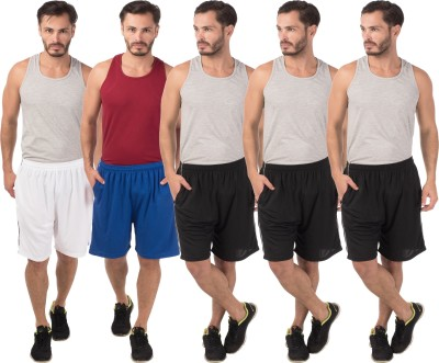 Meebaw Self Design Men,s White, Blue, Black, Black, Black Sports Shorts