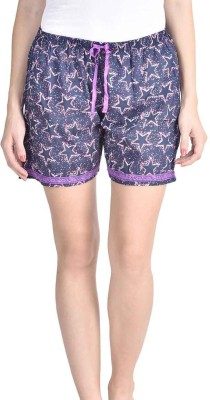 Lenora Printed Women's Blue, White Boxer Shorts