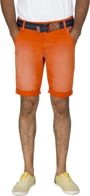 Rookies Solid Men's Orange Basic Shorts