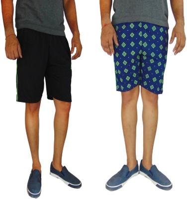 B VOS Printed Men's Black, Blue Basic Shorts