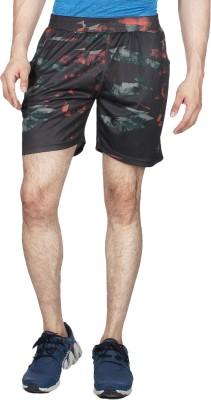 Creez Printed Men's Black, Orange Sports Shorts