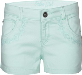 Gini & Jony Short For Girls Solid Cotton Linen Blend, Cotton Nylon Blend, Cotton Linen Blend(Blue, Pack of 1)