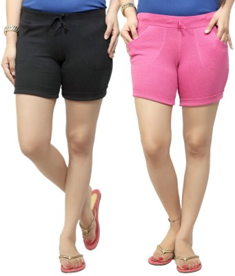 By The Way Solid Women's Black, Pink Basic Shorts, Beach Shorts, Cycling Shorts, Night Shorts