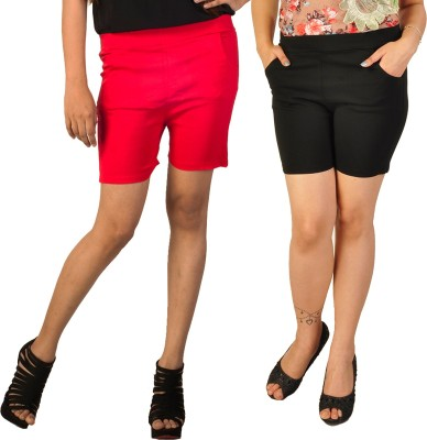 Berries Solid Women's Red, Black Hotpants